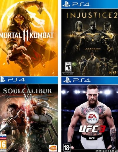Аренда игр пс4: Mortal Kombat 11, Injustice 2, UFC3, Soul Calibur