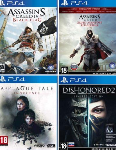 Игры для Playstation Assassin's Creed: Эцио Аудиторе, Assassin's Creed IV Черный флаг, A Plague Tale, Dishonored 2